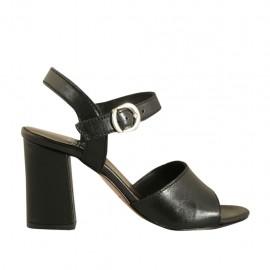 Sandalo da donna con cinturino in pelle nera tacco 7 - Misure disponibili: 32, 33, 34, 42, 43, 44