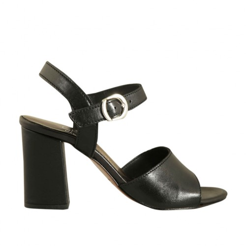Woman's strap sandal in black leather heel 7 - Available sizes:  44