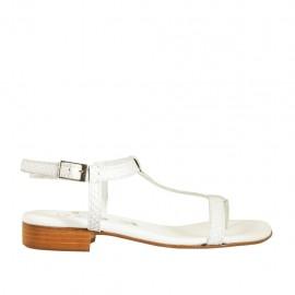 Sandalo infradito da donna con cinturino in pelle stampata bianca e argento tacco 2 - Misure disponibili: 33, 34, 42, 43, 44, 45