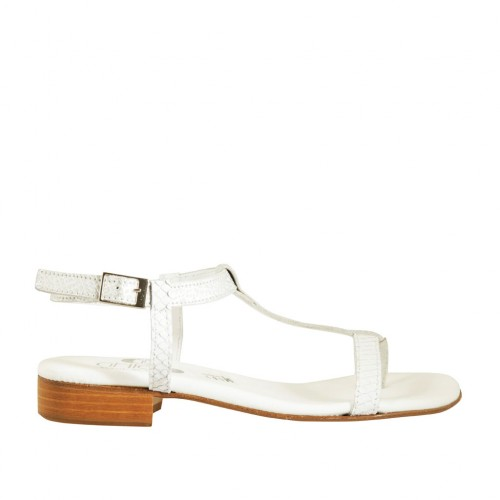Woman's flip-flop strap sandal in white and silver printed leather heel 2 - Available sizes:  33, 43