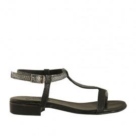 Sandalo infradito da donna con cinturino in pelle stampata nera e canna di fucile tacco 2 - Misure disponibili: 33, 34, 42, 43, 44