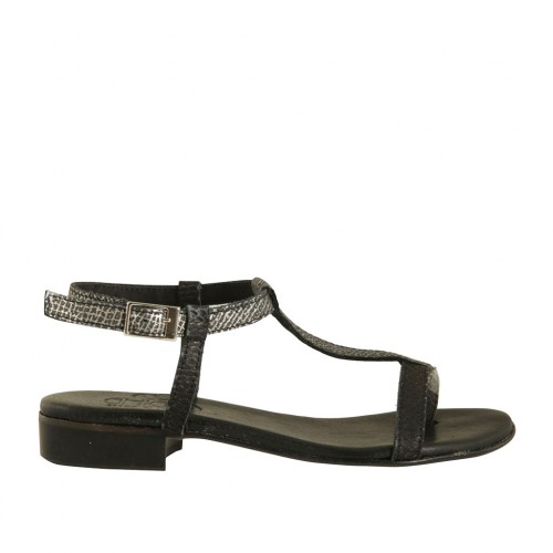 Woman's flip-flop strap sandal in black and grey printed leather heel 2 - Available sizes:  43