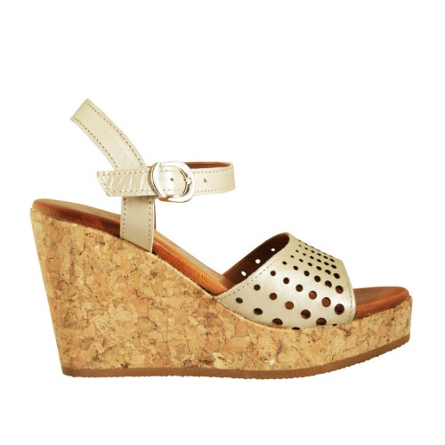 Woman's strap sandal in pearled platinum pierced leather with platform and wedge 9 - Available sizes:  43, 44, 45