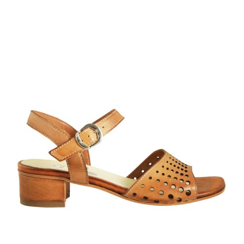 Woman's strap sandal in tan brown pierced leather heel 3 - Available sizes:  42, 43, 44