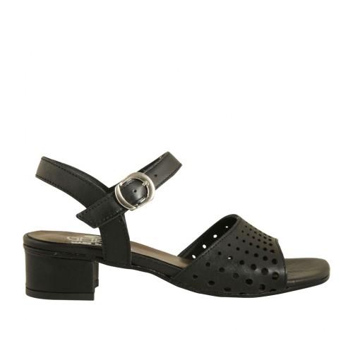 Sandale pour femmes avec courroie en cuir perforé noir talon 3 - Pointures disponibles:  43