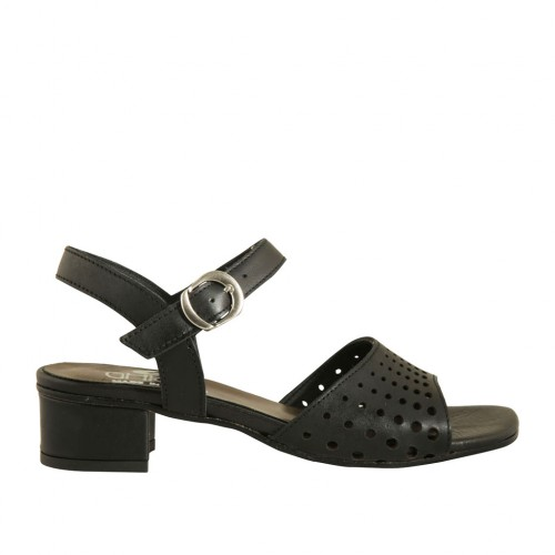 Woman's strap sandal in black pierced leather heel 3 - Available sizes:  43