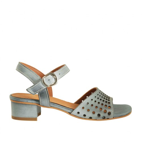 Woman's strap sandal in blue-grey pierced leather heel 3 - Available sizes:  43, 44, 45
