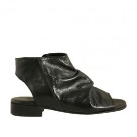 Sandalo accollato con cerniera da donna in pelle nera tacco 2 - Misure disponibili: 33, 34, 42, 43, 44