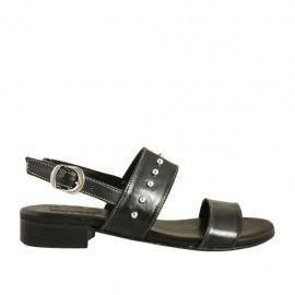 Sandalo da donna con borchie in pelle nera tacco 2 - Misure disponibili: 33, 34, 42, 43, 44, 45