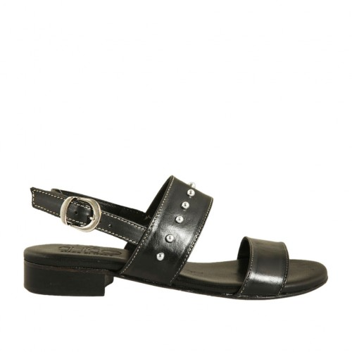 Woman's sandal with studs in black leather heel 2 - Available sizes:  42, 43, 45