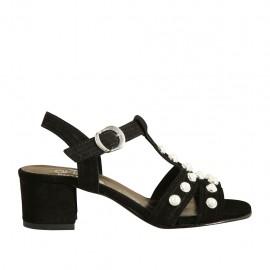 Sandalo da donna con perle e cinturino in camoscio nero tacco 4 - Misure disponibili: 32, 33, 34, 42, 43, 44