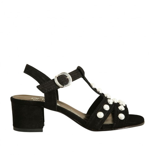 Woman's sandal with pearls and strap in black suede heel 4 - Available sizes:  32, 33, 42, 43