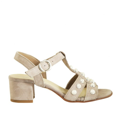 Woman's sandal with pearls and strap in dove grey suede heel 4 - Available sizes:  33, 43