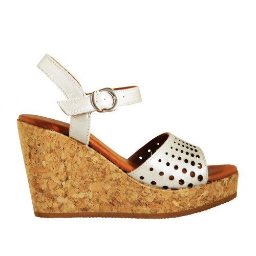 Woman's strap sandal in pearled silver pierced leather with platform and wedge 9 - Available sizes:  32, 42, 43, 44