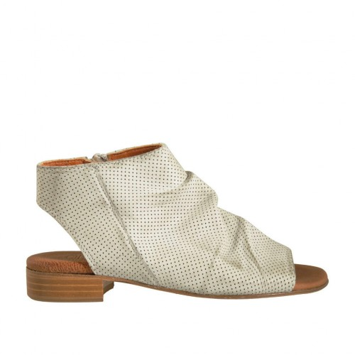 Woman's highfronted sandal with zipper in grey pierced leather heel 2 - Available sizes:  33, 34