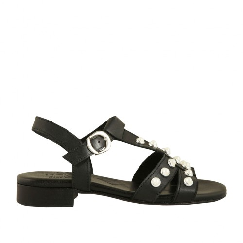 Woman's sandal with strap and pearls in black leather heel 2 - Available sizes:  34, 42, 43