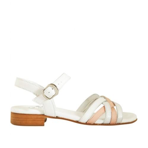 Woman's strap sandal in white, silver and pink leather heel 2 - Available sizes:  33