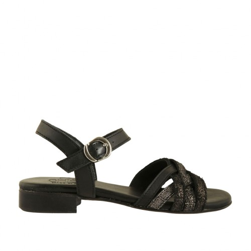 Woman's strap sandal in black and grey printed leather heel 2 - Available sizes:  33, 43
