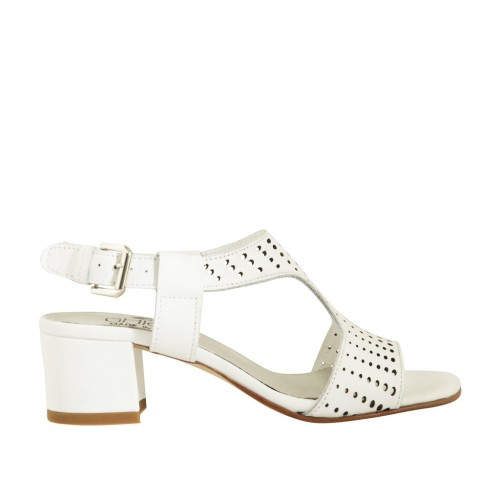 Woman's sandal in white pierced leather heel 4 - Available sizes:  43, 44, 45