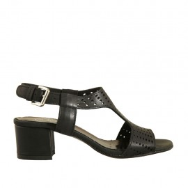 Woman's sandal in black pierced leather heel 4 - Available sizes:  32, 33, 34, 42, 43, 44, 45