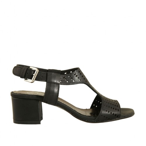 Woman's sandal in black pierced leather heel 4 - Available sizes:  33, 42, 43, 44