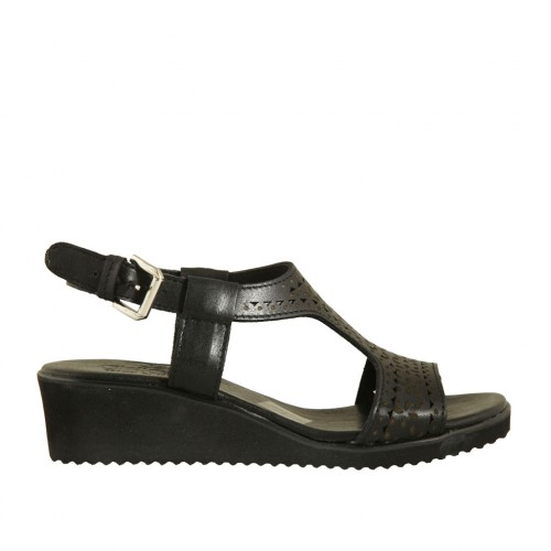Woman's sandal in black pierced leather wedge heel 4 - Available sizes:  44