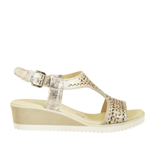 Woman's sandal in platinum printed and pierced leather wedge heel 4 - Available sizes:  44