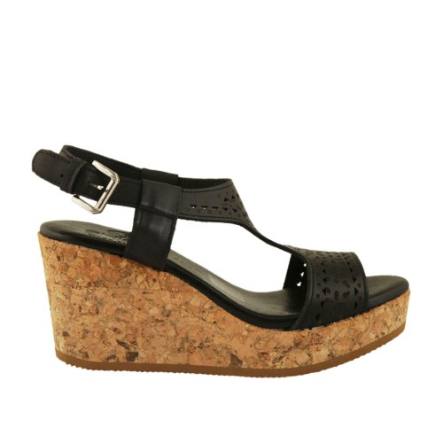 Woman's sandal in black pierced leather with platform and wedge 7 - Available sizes:  32, 43