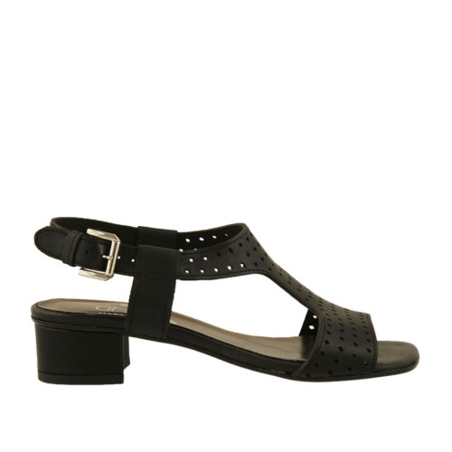 Woman's sandal in black pierced leather heel 3 - Available sizes:  33, 43, 45