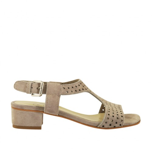 Woman's sandal in dove grey pierced suede heel 3 - Available sizes:  43, 44