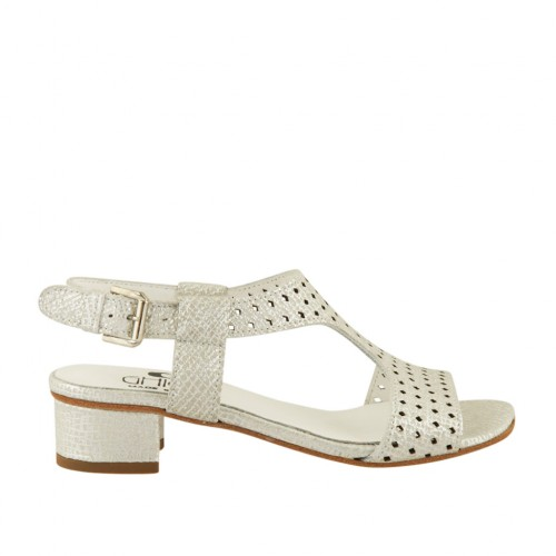 Woman's sandal in silver printed and pierced leather heel 3 - Available sizes:  43, 44, 45