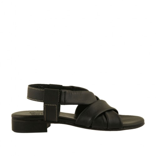 Woman's sandal with elastic band in black leather heel 2 - Available sizes:  33, 45