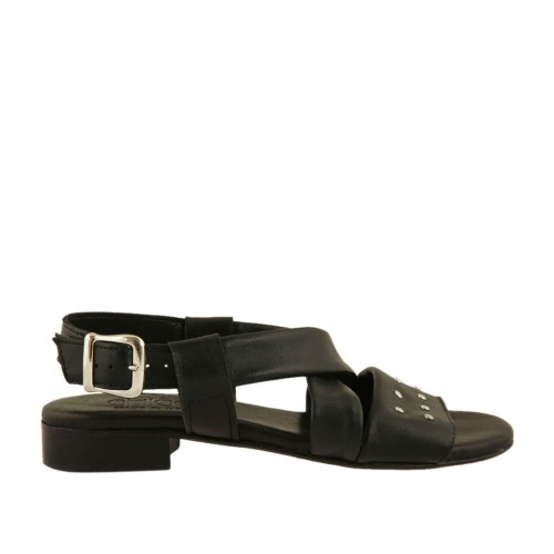 Woman's sandal with studs in black leather heel 2 - Available sizes:  33, 34