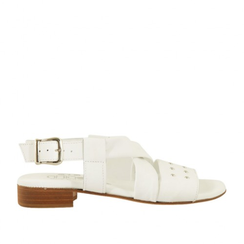 Woman's sandal with studs in white leather heel 2 - Available sizes:  34