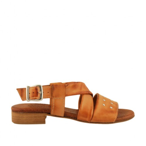 Woman's sandal with studs in tan leather heel 2 - Available sizes:  33, 42, 43