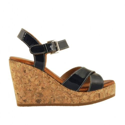 Woman's strap sandal in blue patent leather with platform and wedge 9 - Available sizes:  33, 34, 42, 43, 44