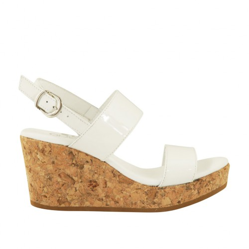 Woman's sandal in white patent leather with platform and wedge 7 - Available sizes:  43