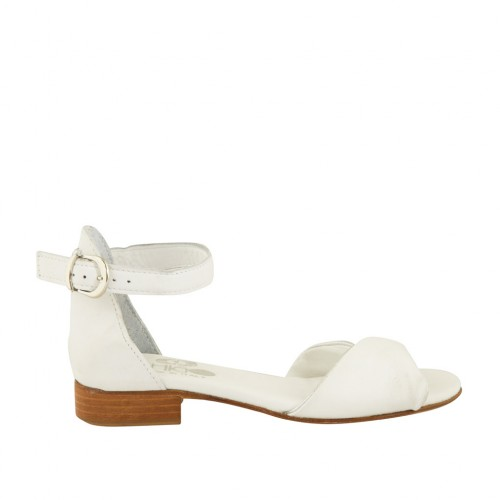 Woman's open shoe in white and silver leather with strap heel 2 - Available sizes:  32
