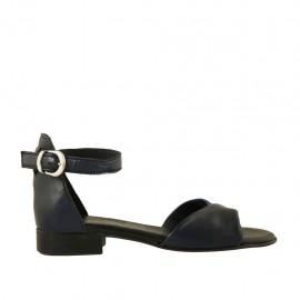 Chaussure ouvert pour femmes en cuir bleu et bleu foncé avec courroie talon 2 - Pointures disponibles:  32, 33, 34, 42, 43, 44, 45