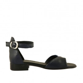 Woman's open shoe in blue and dark blue leather with strap heel 2 - Available sizes:  32, 33, 34, 42, 43, 44, 45