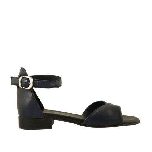 Woman's open shoe in blue and dark blue leather with strap heel 2 - Available sizes:  32, 33, 43