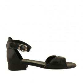 Chaussure ouvert pour femmes en cuir noir et bronze avec courroie talon 2 - Pointures disponibles:  32, 33, 34, 42, 43, 44, 45