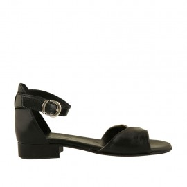 Woman's open shoe in black and bronze leather with strap heel 2 - Available sizes:  32, 33, 34, 42, 43, 44, 45