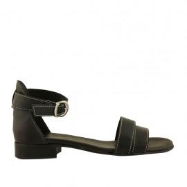 bb2421cff40f21 Chaussure ouvert pour femmes en cuir noir avec courroie talon 2 - Pointures  disponibles: 32