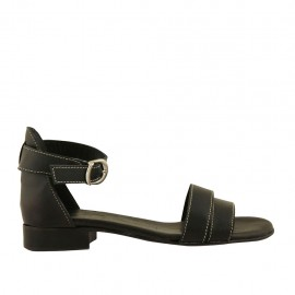 Woman's open shoe in black leather with strap heel 2 - Available sizes:  32, 33, 34, 42, 43, 44, 45