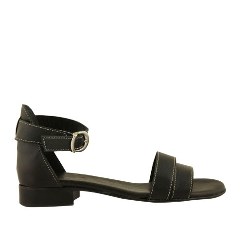 Woman's open shoe in black leather with strap heel 2 - Available sizes:  32, 33, 44