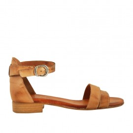 Woman's open shoe in tan leather with strap heel 2 - Available sizes:  32, 33, 34, 42, 43, 44, 45