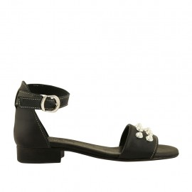 Chaussure ouvert pour femmes en cuir noir avec courroie et perles talon 2 - Pointures disponibles:  32, 33, 34, 42, 43, 44, 45