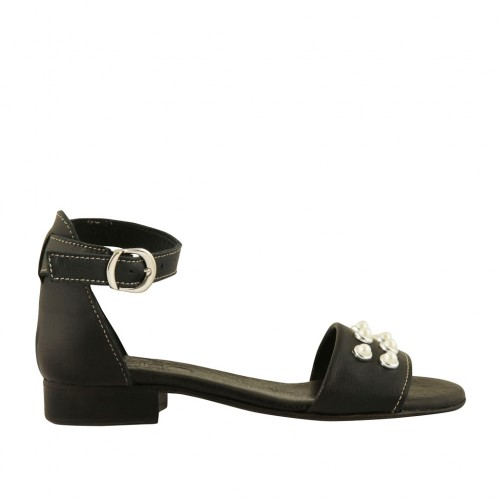 Woman's open shoe in black leather with strap and pearls heel 2 - Available sizes:  32, 33, 43, 44, 45