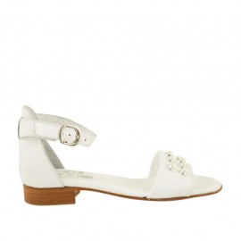 Woman's open shoe in white leather with strap and pearls heel 2 - Available sizes:  32, 33, 34, 42, 43, 44, 45